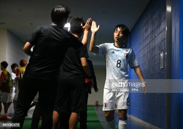 Koji Miyoshi of Japan walks out of the dressing room prior to the FIFA U20 World Cup Korea Republic 2017 Round of 16 match between Venezuela and...