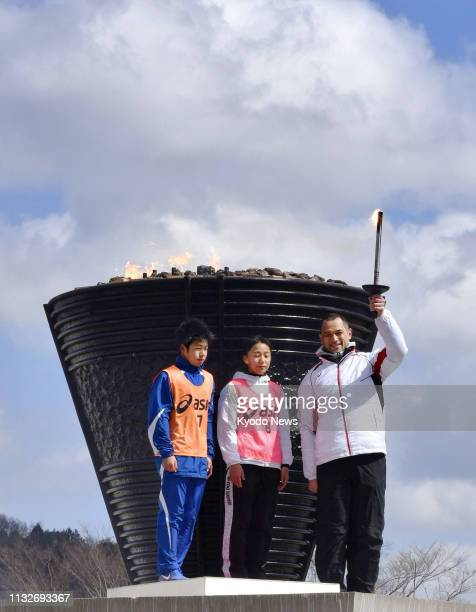 Koji Murofushi an Olympic hammer throw champion and sports director of the organizing committee of the 2020 Tokyo Olympics and Paralympics poses...