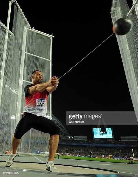 Koji Murofushi of Japan competes in the men's hammer throw final during day three of 13th IAAF World Athletics Championships at the Daegu Stadium on...