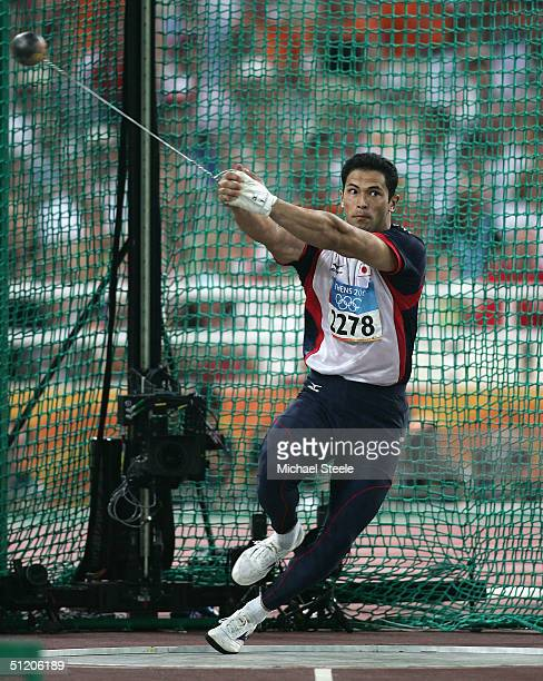 Koji Murofushi of Japan competes in the men's hammer throw final on August 22, 2004 during the Athens 2004 Summer Olympic Games at the Olympic...