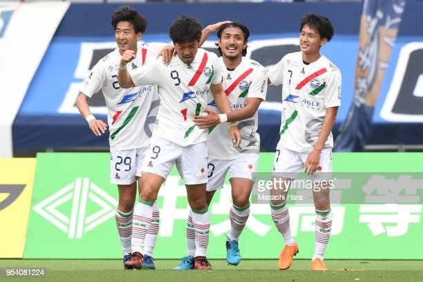 Koji Suzuki of Machida Zelvia celebrates the fourth goal during the J.League J2 match between Tokyo Verdy and Machida Zelvia at Ajinomoto Stadium on...