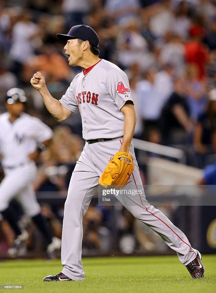 Koji Uehara #19 of the Boston Red Sox celebrates the win over the New York Yankees on August 5, 2015 at Yankee Stadium in the Bronx borough of New York City.The Boston Red Sox defeated the New York Yankees 2-1.