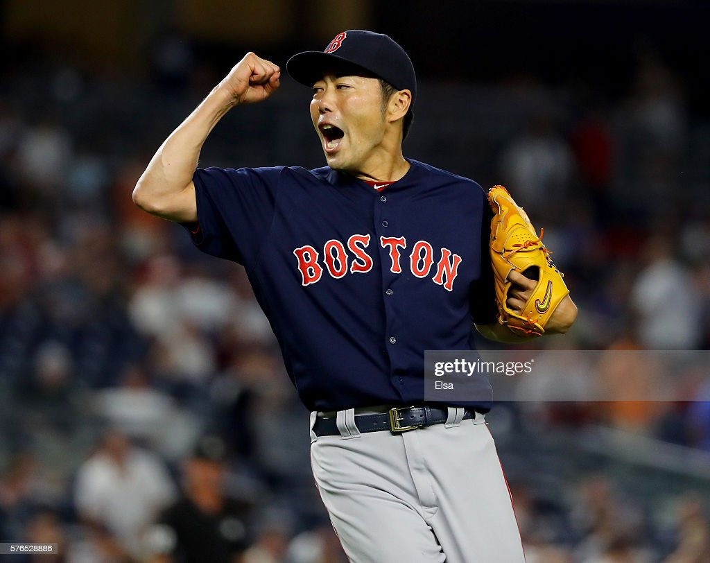 Koji Uehara #19 of the Boston Red Sox celebrates the win over the New York Yankees at Yankee Stadium on July 15, 2016 in the Bronx borough of New York City.The Boston Red Sox defeated the New York Yankees 5-3.