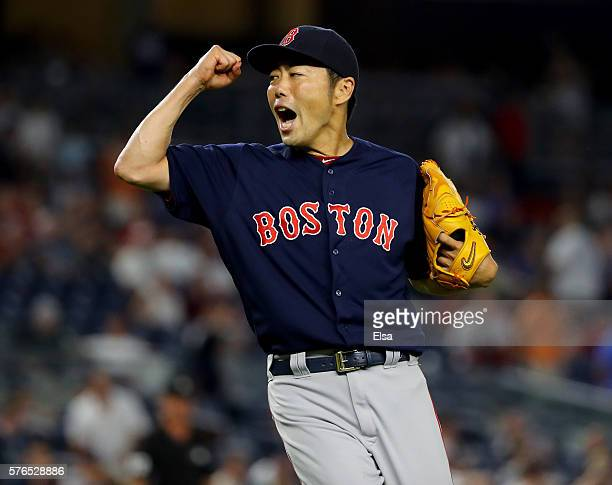 Koji Uehara of the Boston Red Sox celebrates the win over the New York Yankees at Yankee Stadium on July 15 2016 in the Bronx borough of New York...