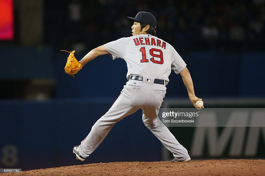 Koji Uehara #19 of the Boston Red Sox delivers a pitch in the seventh inning during MLB game action against the Toronto Blue Jays on April 9, 2016 at Rogers Centre in Toronto, Ontario, Canada.