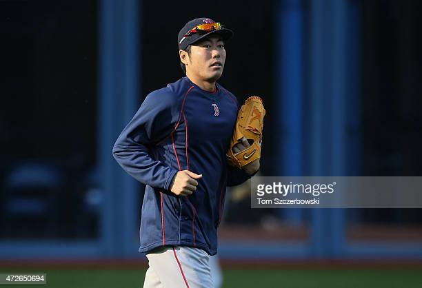 Koji Uehara of the Boston Red Sox during batting practice before the start of MLB game action against the Toronto Blue Jays on May 8 2015 at Rogers...