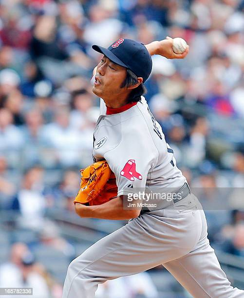 Koji Uehara of the Boston Red Sox in action against the New York Yankees during Opening Day at Yankee Stadium on April 1 2013 in the Bronx borough of...