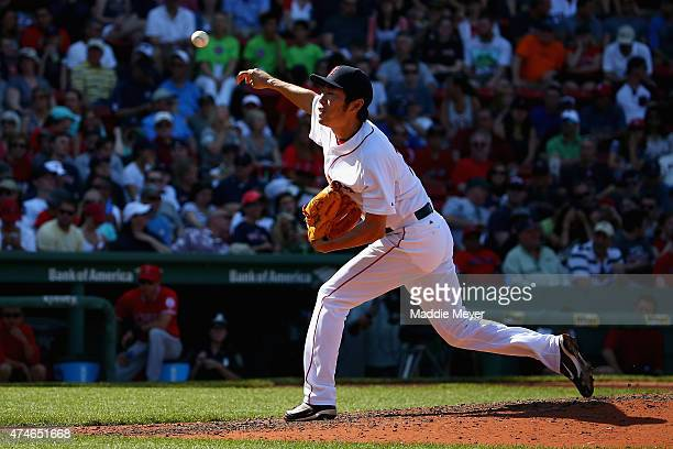Koji Uehara of the Boston Red Sox pitches against the Los Angeles Angels of Anaheim during the ninth inning at Fenway Park on May 24, 2015 in Boston,...