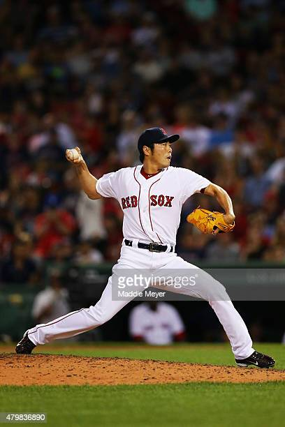 Koji Uehara of the Boston Red Sox pitches against the Miami Marlins during the ninth inning at Fenway Park on July 7 2015 in Boston Massachusetts The...