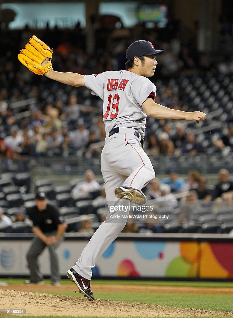 Koji Uehara #19 of the Boston Red Sox pitches against the New York Yankees at Yankee Stadium on June 29, 2014 in the Bronx borough of New York City. The Red Sox defeated the Yankees 8-5.