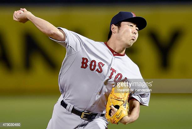 Koji Uehara of the Boston Red Sox pitches against the Oakland Athletics in the bottom of the ninth inning at Oco Coliseum on May 11 2015 in Oakland...