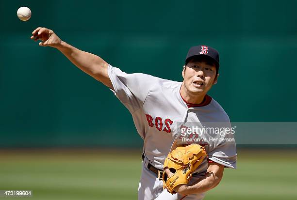 Koji Uehara of the Boston Red Sox pitches against the Oakland Athletics in the ninth inning at Oco Coliseum on May 13 2015 in Oakland California The...