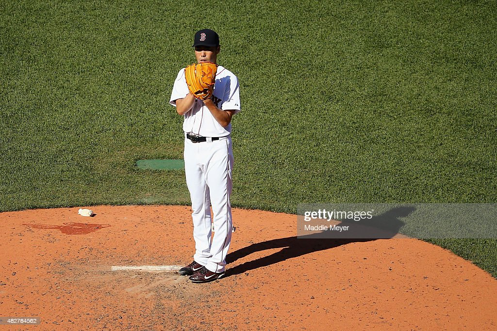 Koji Uehara #19 of the Boston Red Sox pitches against the Tampa Bay Rays during the ninth inning at Fenway Park on August 2, 2015 in Boston, Massachusetts.