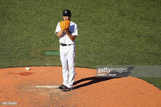 Koji Uehara of the Boston Red Sox pitches against the Tampa Bay Rays during the ninth inning at Fenway Park on August 2 2015 in Boston Massachusetts