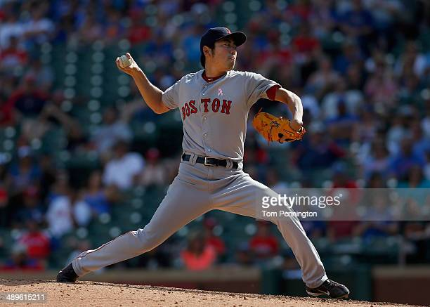 Koji Uehara of the Boston Red Sox pitches against the Texas Rangers in the bottom of the ninth inning at Globe Life Park in Arlington on May 11 2014...