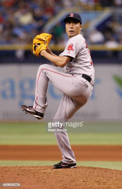 Koji Uehara of the Boston Red Sox pitches during the ninth inning of a game against the Tampa Bay Rays on May 24 2014 at Tropicana Field in St...