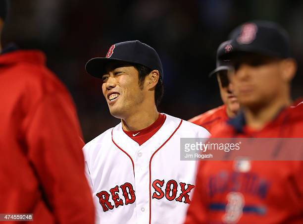 Koji Uehara of the Boston Red Sox reacts after he threw a scoreless ninth inning against the Los Angeles Angels to give the Red Sox a 83 win at...