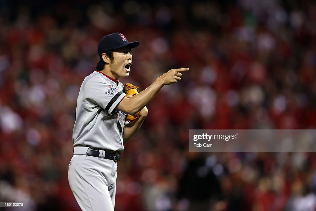 Koji Uehara #19 of the Boston Red Sox reacts as they defeat the St. Louis Cardinals 3 to 1 in the ninth inning of Game Five of the 2013 World Series at Busch Stadium on October 28, 2013 in St Louis, Missouri.