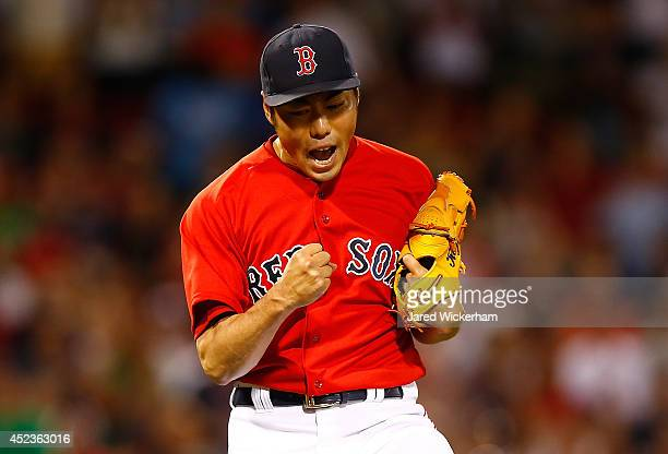 Koji Uehara of the Boston Red Sox reacts following the 54 win against the Kansas City Royals in the 9th inning during the game at Fenway Park on July...