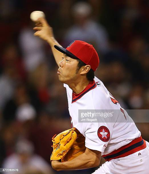 Koji Uehara of the Boston Red Sox throws in the ninth inning against the Tampa Bay Rays at Fenway Park May 5 2015 in Boston Massachusetts