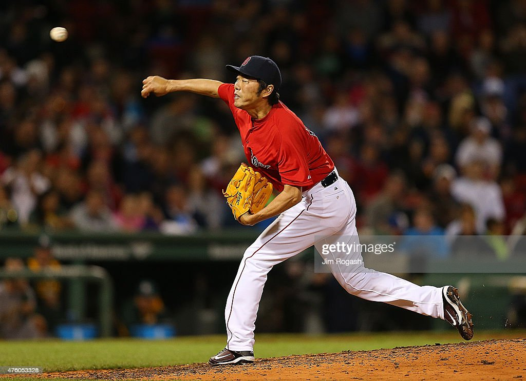 Koji Uehara #19 of the Boston Red Sox throws in the ninth inning against Oakland Athletics at Fenway Park on June 5, 2015 in Boston, Massachusetts.