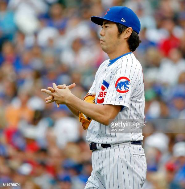 Koji Uehara of the Chicago Cubs between pitches during the seventh inning of the game against the Atlanta Braves at Wrigley Field on September 2 2017...