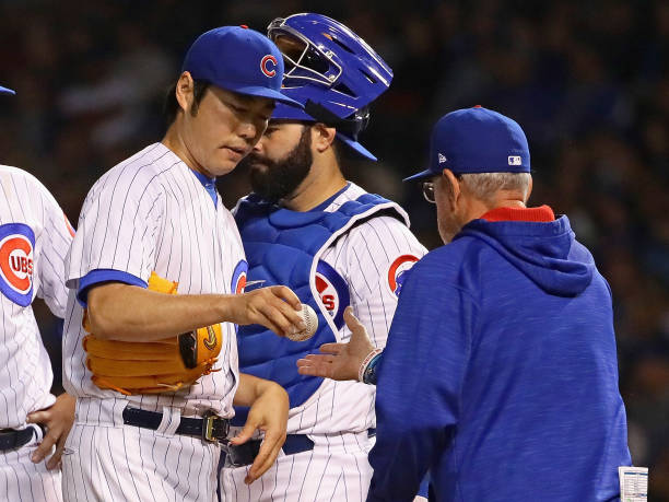 f20a3a76e5c Koji Uehara  19 of the Chicago Cubs is taken out of the game in the