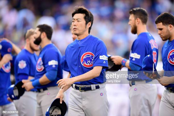 Koji Uehara of the Chicago Cubs looks on prior to Game One of the National League Championship Series against the Los Angeles Dodgers at Dodger...