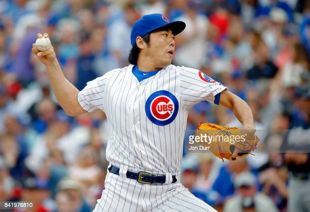 Koji Uehara of the Chicago Cubs pitches against the Atlanta Braves during the seventh inning at Wrigley Field on September 2 2017 in Chicago Illinois...