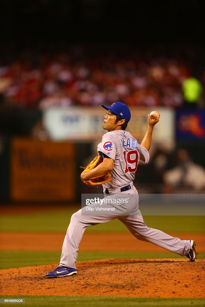 Koji Uehara #19 of the Chicago Cubs pitches against the St. Louis Cardinals in the seventh inning at Busch Stadium on April 3, 2017 in St. Louis, Missouri.