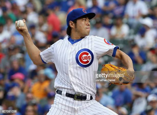 Koji Uehara of the Chicago Cubs pitches in the 9th inning against the Washington Nationals at Wrigley Field on August 6 2017 in Chicago Illinois