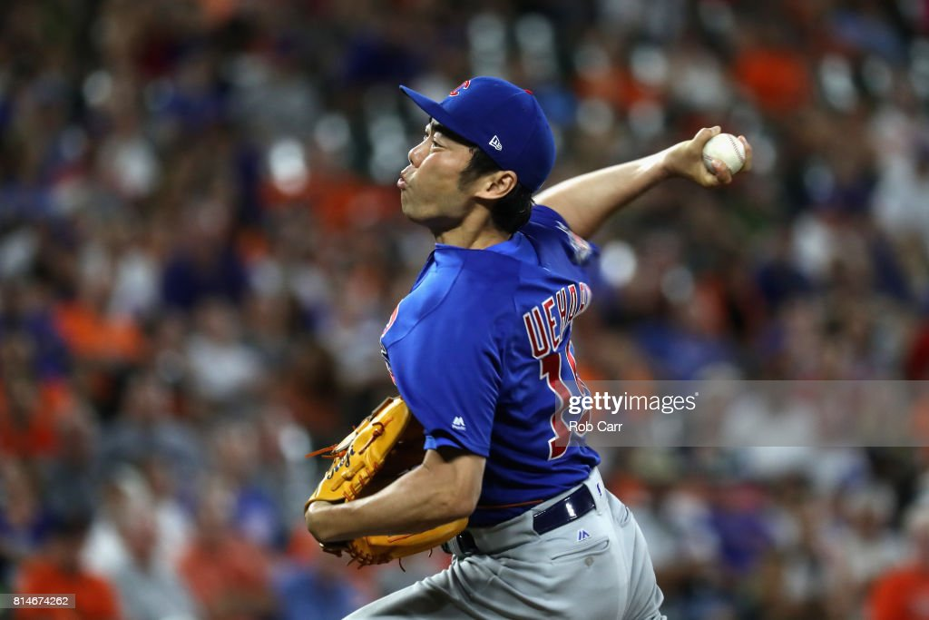Koji Uehara #19 of the Chicago Cubs pitches to a Baltimore Orioles batter in the eighth inning at Oriole Park at Camden Yards on July 14, 2017 in Baltimore, Maryland.