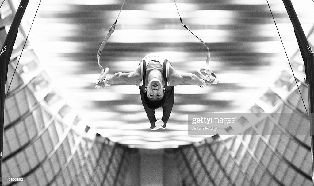 Koji Uematsu of Japan competes on the rings during day two of the Artistic Gymnastics NHK Trophy at Yoyogi National Gymnasium on May 5, 2012 in Tokyo, Japan.