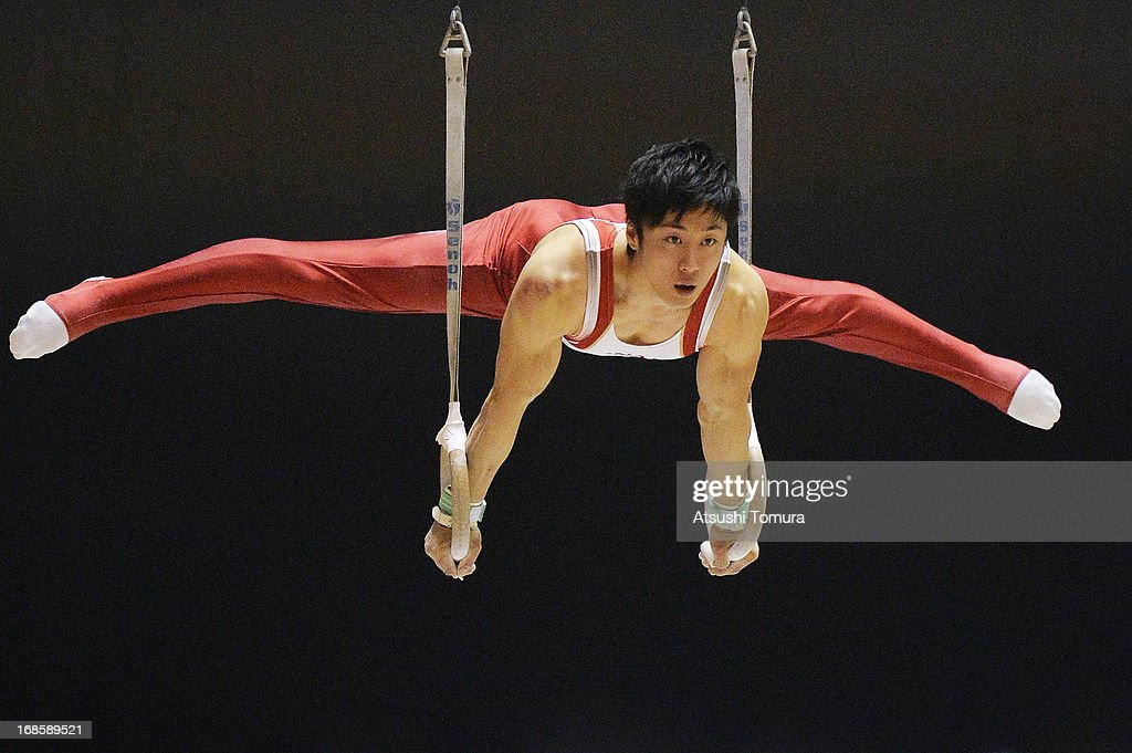 Koji Uematsu of Japan competes on the rings during day two of the 67th All Japan Artistic Gymnastics Individual All Around Championship at Yoyogi National Gymnasium on May 12, 2013 in Tokyo, Japan.
