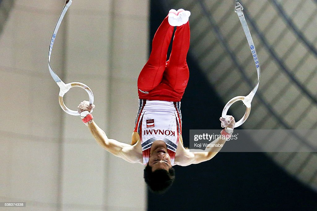 Koji Yamamuro competes with the hoop during the All-Japan Gymnastic Appratus Championshipsat Yoyogi National Gymnasium on June 5, 2016 in Tokyo, Japan.
