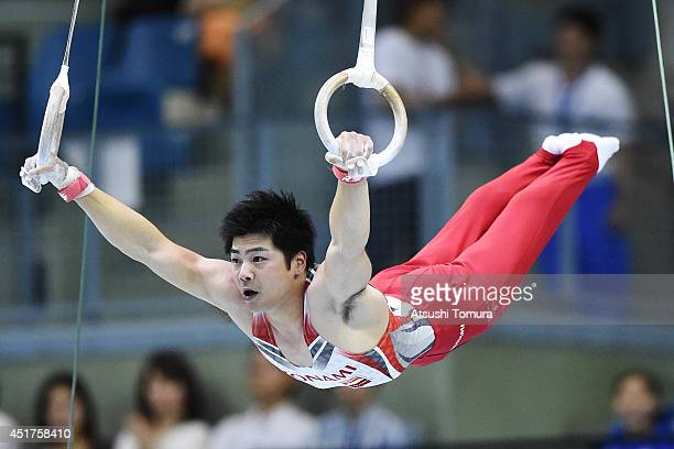 Koji Yamamuro of Japan compets on the Rings during the 68th All Japan Gymnastics Apparatus Championships on July 6 2014 in Chiba Japan