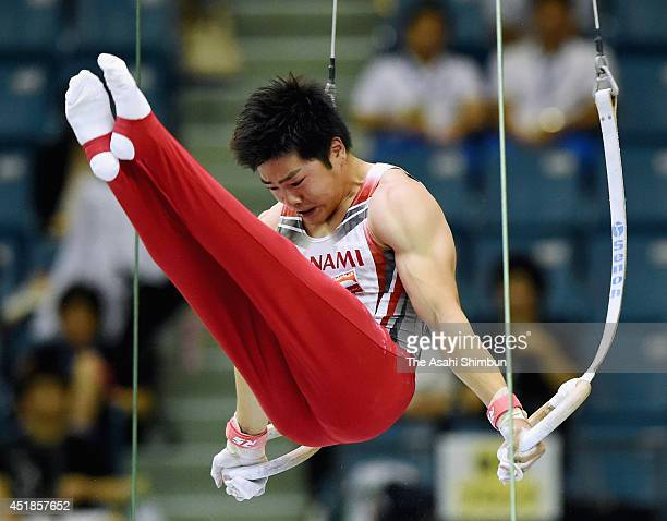 Koji Yamanuro competes in the Rings during the 68th All Japan Gymnastics Apparatus Championships at Chiba Port Arena on July 6 2014 in Chiba Japan