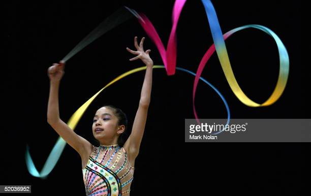 Kok Mei Li of Malaysia uses the ribbon during the Rhythmic Gymnastics at the 2005 Australian Youth Olympic Festival January 20, 2005 at the Sydney...