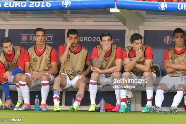 Koke Lucas Vazquez Pedro Rodriguez Hector Bellerin Moruno Marc Bartra Bruno Soriano Llido of Spain sit on the bench during the UEFA EURO 2016 Round...