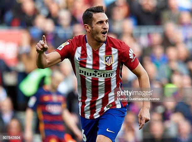 Koke of Atletico de Madrid celebrates scoring his team's first goal during the La Liga match between FC Barcelona and Atletico de Madrid at Camp Nou...