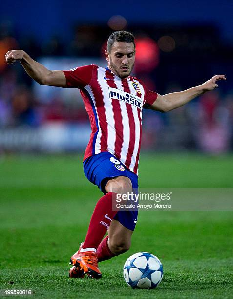 Koke of Atletico de Madrid controls the ball during the UEFA Champions League Group C match between Club Atletico de Madrid and Galatasaray AS at...