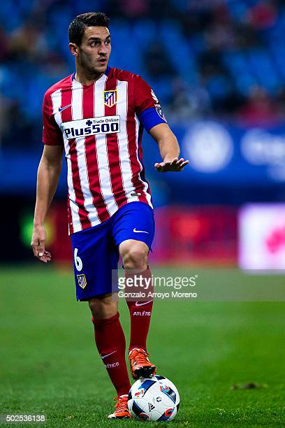 Koke of Atletico de Madrid gives instructions to his teammates during the Copa del Rey Round of 32 match between Club Atletico Madrid and CF Reus...