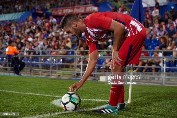 Koke of Atletico de Madrid prepares for a corner kick during the Pre Season Friendly match between Getafe CF and Atletico de Madrid at Coliseum...