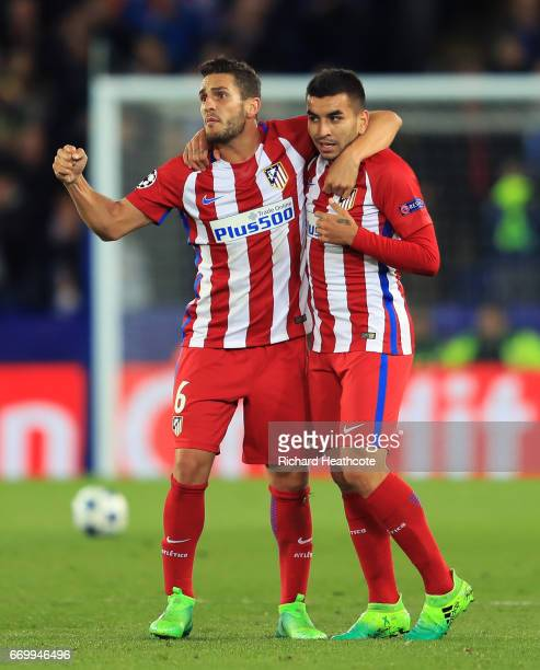 Koke of Atletico Madrid and Angel Correa of Atletico Madrid celebrate their teams win after the UEFA Champions League Quarter Final second leg match...