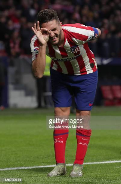 Koke of Atletico Madrid celebrates after scoring his team's third goal during the La Liga match between Club Atletico de Madrid and RCD Espanyol at...