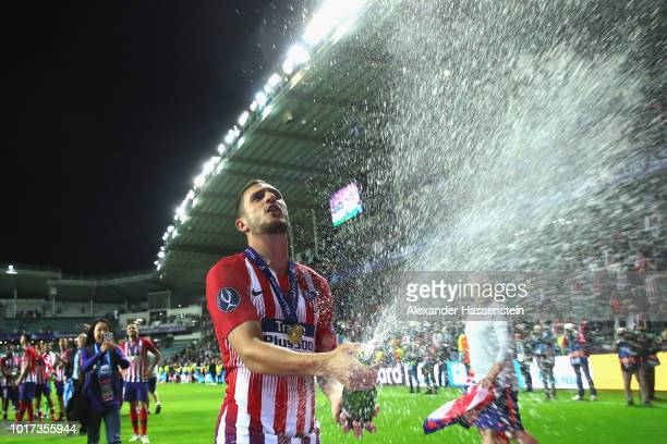 Koke of Atletico Madrid celebrates following the UEFA Super Cup between Real Madrid and Atletico Madrid at Lillekula Stadium on August 15 2018 in...