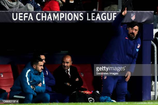 Koke of Atletico Madrid coach German Burgos of Atletico Madrid during the UEFA Champions League match between Atletico Madrid v AS Monaco at the...