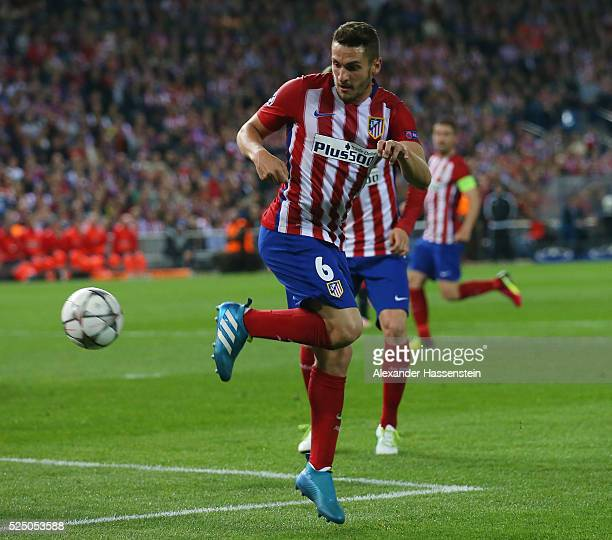 Koke of Atletico Madrid flicks th eball during the UEFA Champions League semi final first leg match between Club Atletico de Madrid and FC Bayern...