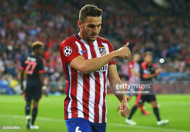Koke of Atletico Madrid gives a thumbs up during the UEFA Champions League semi final first leg match between Club Atletico de Madrid and FC Bayern...