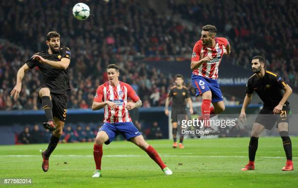Koke of Atletico Madrid heads on target during the UEFA Champions League group C match between Atletico Madrid and AS Roma at Wanda Metropolitano on...